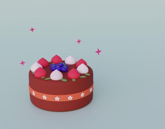 고립 된 딸기와 만화 스타일 케이크입니다.