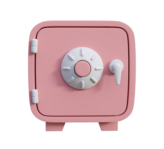 Сейф с розовыми деньгами в мультяшном стиле на белом фоне 3d визуализации иллюстрации