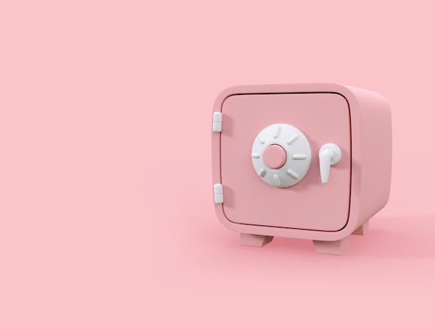 Розовые деньги в мультяшном стиле на розовом фоне с копией пространства 3d визуализации иллюстрации