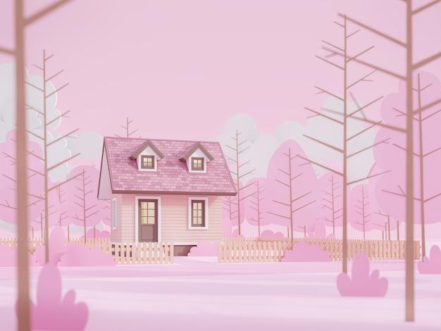 낮은 다각형 나무와 핑크 숲에서 만화 스타일의 작은 집 3d 렌더링