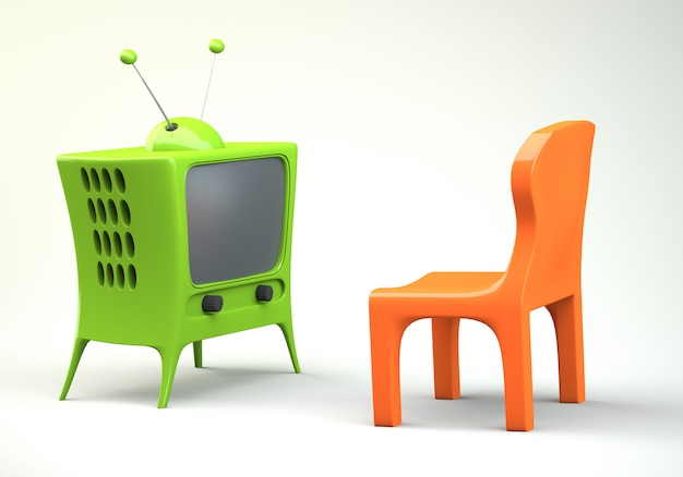 Cartoon-styled tv with chair