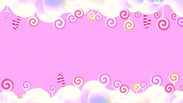Cartoon sweet pink lollipop candy world 3d rendered picture