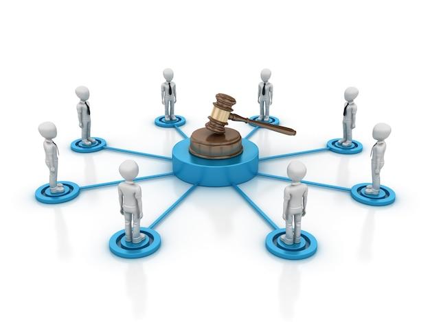 Cartoon teamwork with legal gavel