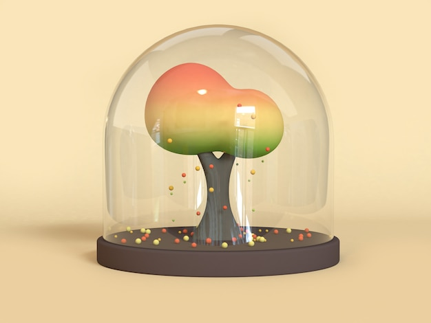 Cartoon tree in jar-pot fall/autumn season concept 3d rendering