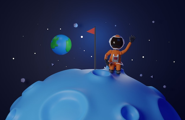 Cartoon version design of astronaut  astronaut with flag stands on moon  3d rendering  blue tone