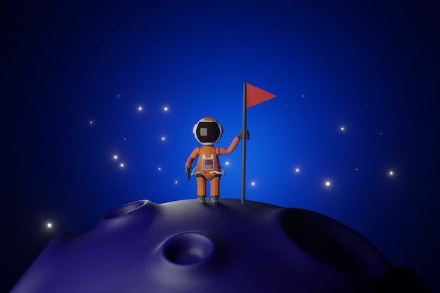 Cartoon version design of astronaut  astronaut with flag stands on moon  blue tone  3d rendering