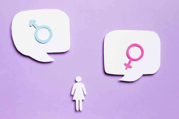 Cartoon woman and gender signs in speech bubbles