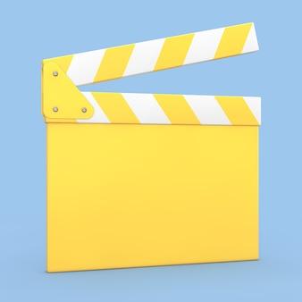 Мультяшный желтый кино фильм клаппер или вагонка на синем фоне. 3d рендеринг