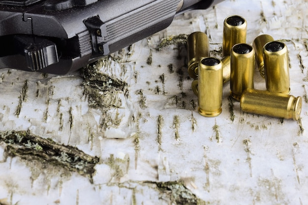 Cartridges of a traumatic pistol and a pistol lie on a birch bark