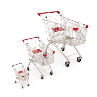 分離されたさまざまなサイズのスーパーマーケットのカート