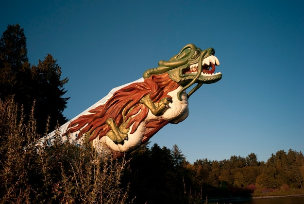 Carved dragon head in stanley park vancouver, british columbia, canada