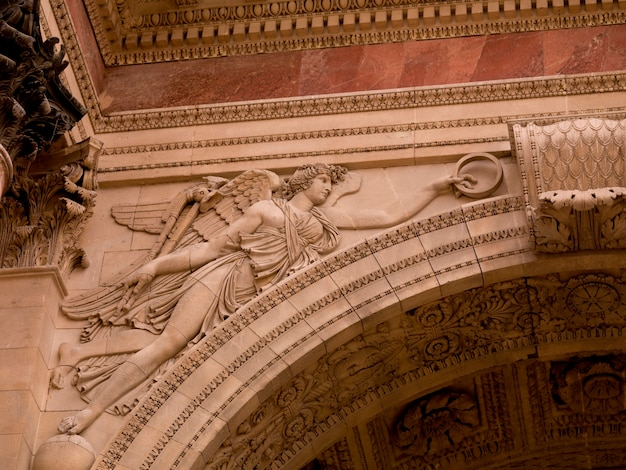 Carving on the arc de triomphe in paris france