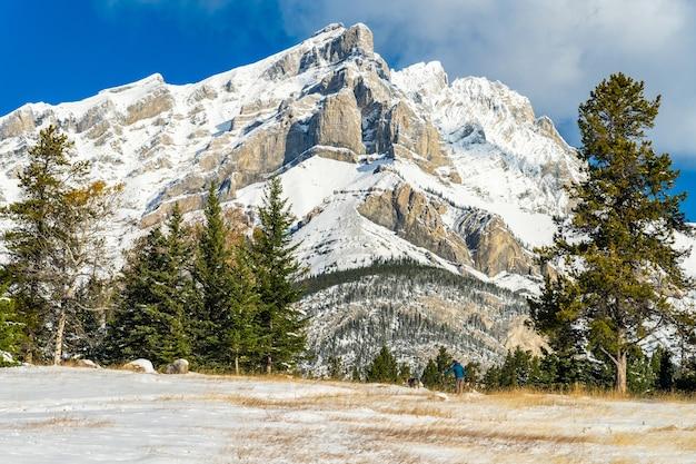 캐스케이드 산과 겨울의 눈 덮인 숲 밴프 국립공원 캐나다 로키 산맥