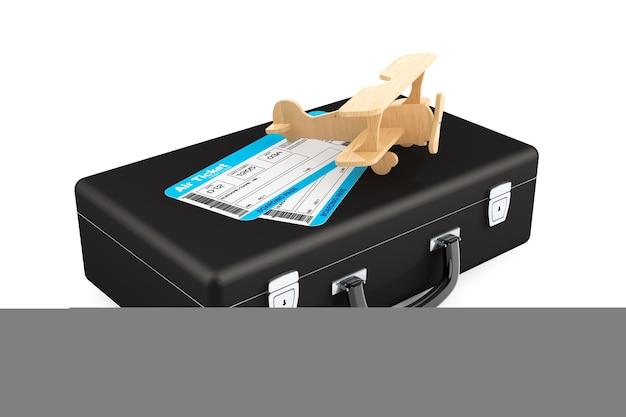 Случай, самолет и билет посадочного талона на самолет на белом фоне