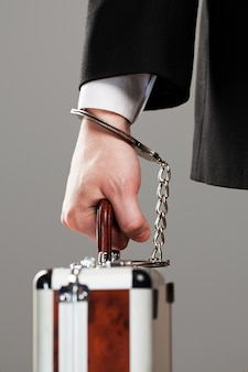 Case attached to hand with handcuffs