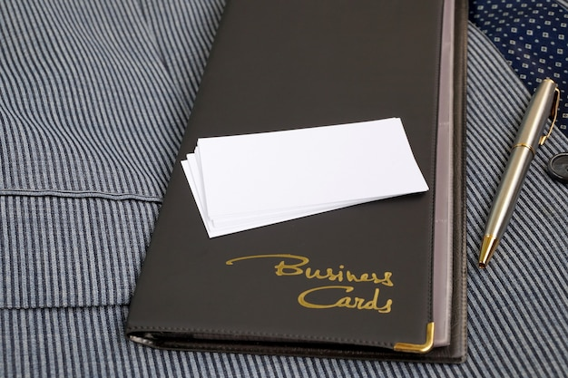 Case for business cards from a leather substitute and blank business cards