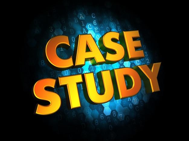 Case study concept - golden color text on dark blue digital background.