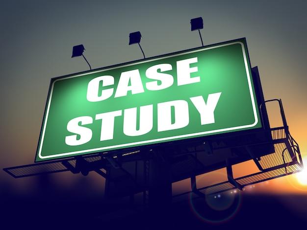 Case study - green billboard on the rising sun background.