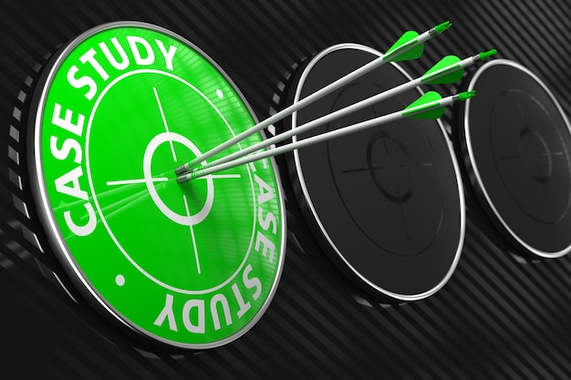 Case study. three arrows hitting the center of green target on black background.