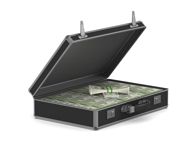 Случай с наличными деньгами на белом. изолированные 3d иллюстрации