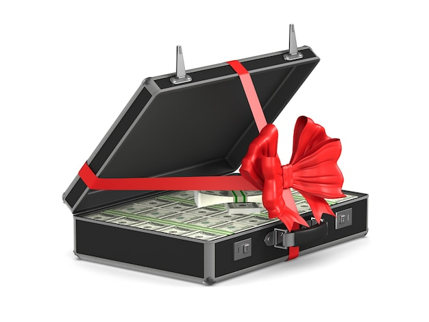 Case with cash money on white. isolated 3d illustration