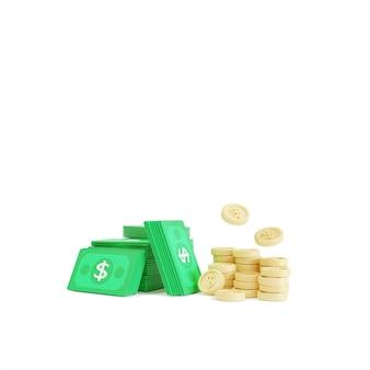 Наличные деньги и монеты вокруг на белом фоне. экономия денег, концепция безналичного общества. 3d иллюстрация
