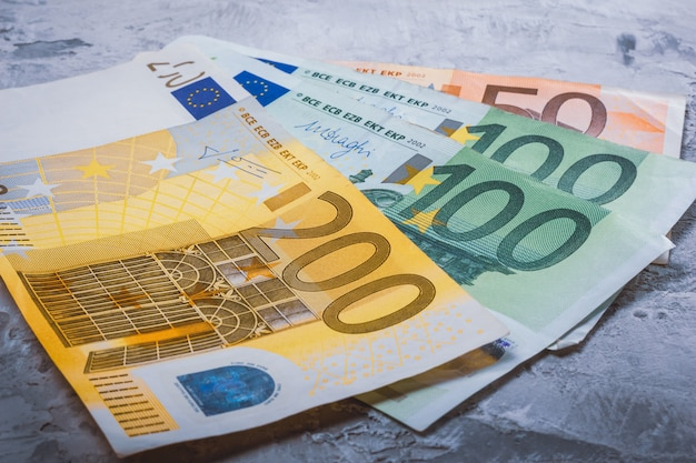 Cash in euro close-up 200, 100 and 50