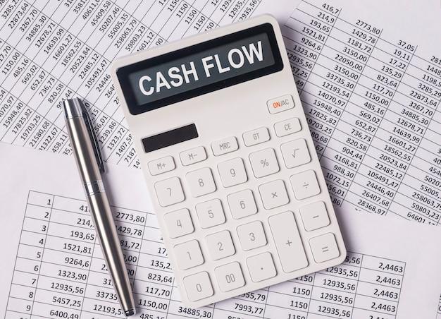 Cash flow word on calculator cashflow inscription