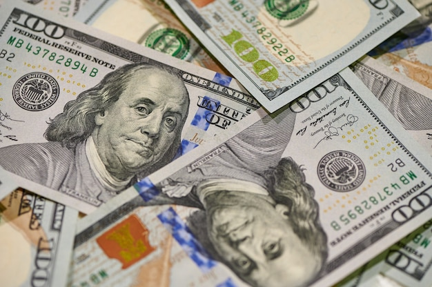Cash of hundred dollar bills. financial, business, investment and economical concept. money background.