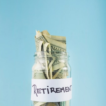 Cash in jar for retirement