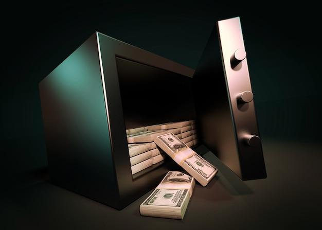 Cash money safe deposit 3d render