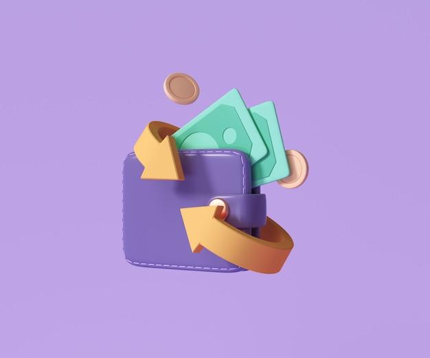 캐쉬백 및 돈 환불 아이콘 개념