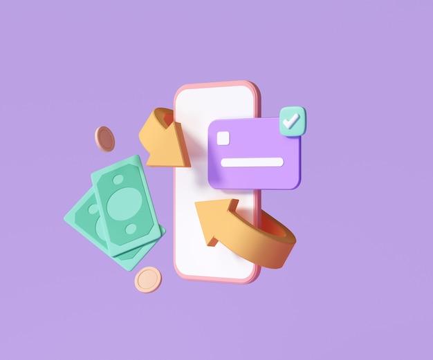 キャッシュバックとお金の払い戻しのアイコンのコンセプト