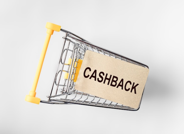 Cashback concept. word, inscription on credit card.