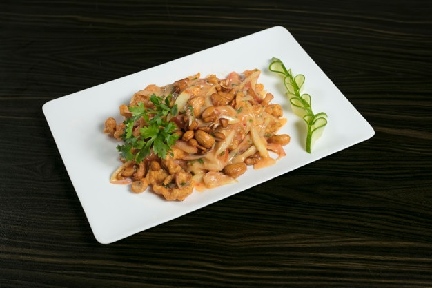 Cashew nut salad on plate