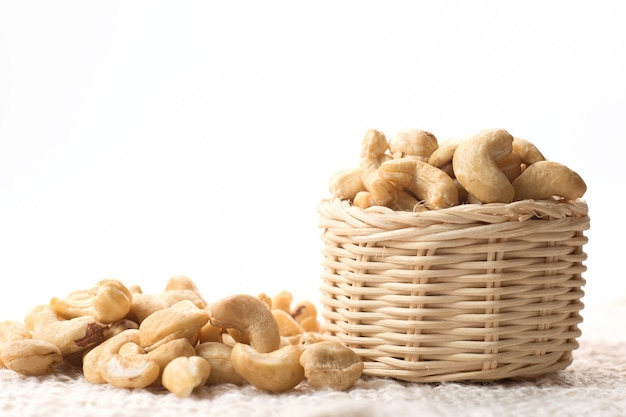 Cashew nuts on the basket.