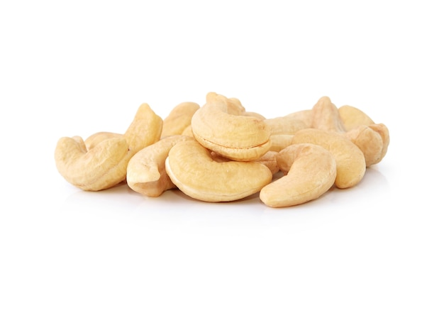 Cashew nuts isolated on white background