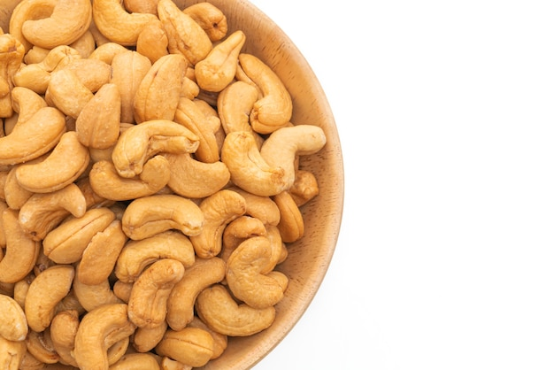 Cashew nuts isolated on white surface