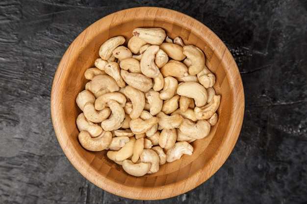 Cashew nuts top view