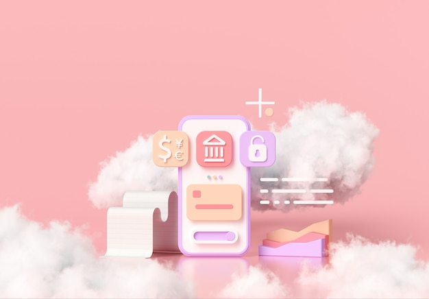 キャッシュレス社会、オンラインモバイルバンキング、安全な支払いの概念
