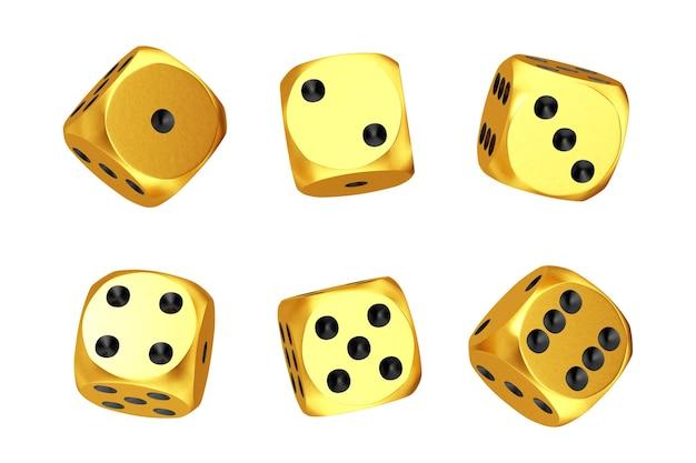 카지노 도박 개념. 흰색 바탕에 다른 위치에 황금 게임 주사위 큐브의 집합입니다. 3d 렌더링