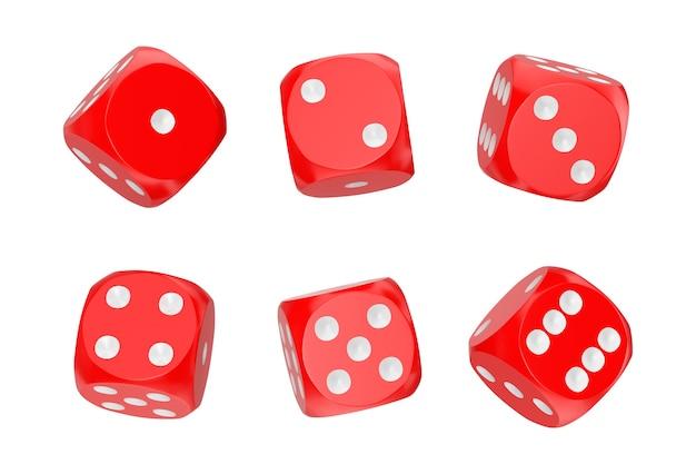 카지노 도박 개념. 흰색 바탕에 다른 위치에 빨간 게임 주사위 큐브의 집합입니다. 3d 렌더링