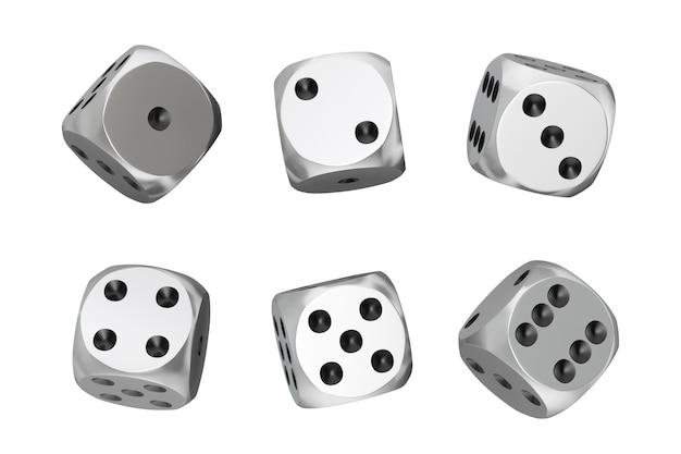 카지노 도박 개념. 흰색 바탕에 다른 위치에 실버 게임 주사위 큐브의 집합입니다. 3d 렌더링