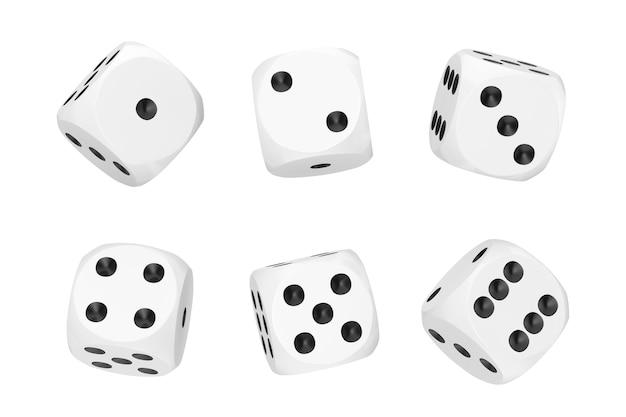 카지노 도박 개념. 흰색 배경에 다른 위치에 흰색 게임 주사위 큐브의 집합입니다. 3d 렌더링