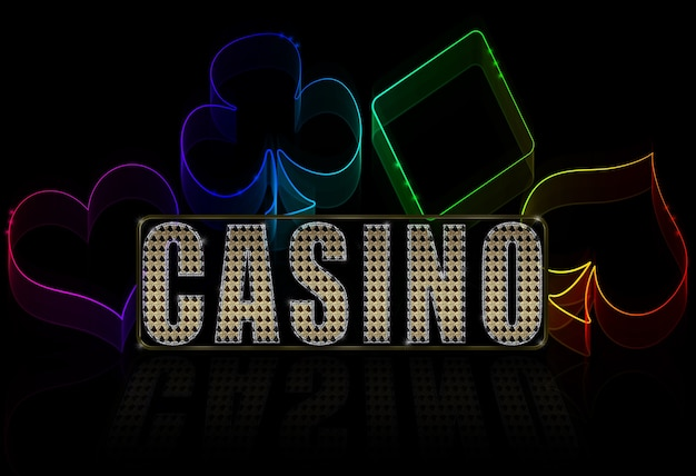 Casino illustration on the black -  cards game