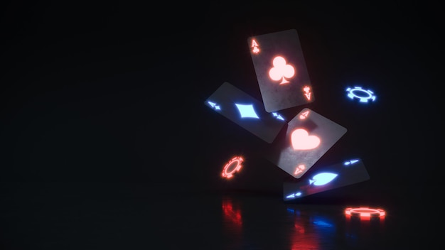 Неоновый фон казино с покерными фишками и картами, падающими premium photo.