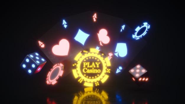 プレミアム写真に落ちるポーカーチップとカジノネオンの背景。