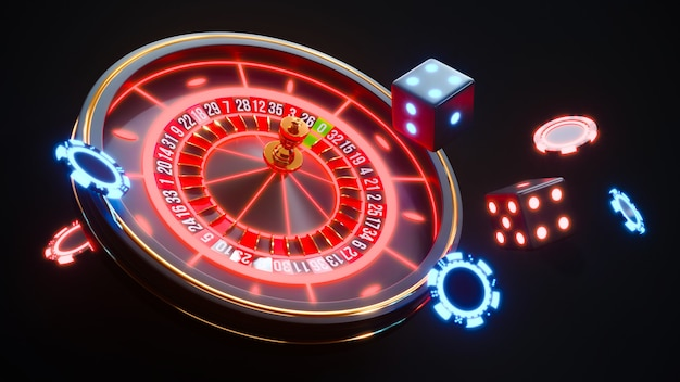 Casino neon background with roulette and poker chips falling premium photo