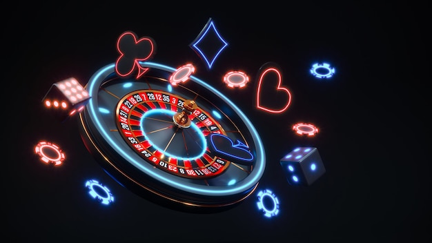 Casino neon background with roulette and poker chips falling premium photo.