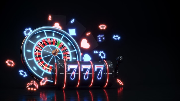 Casino neon background with roulette, slot machine and poker chips falling premium photo.